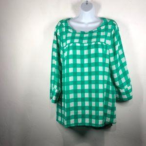 Banana Republic Factory green plaid blouse sz lg